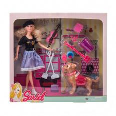Лялька 7726-A1 (48шт) 28см, собачка 14см (функц.), Інструменти, скрипка, в кробке, 36,5-34-7см