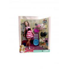 Лялька 7727-A1 (36шт) 29см, тварина 3шт, 5см, сумочка, миска, аксесуари, в коробці, 28-33-9см