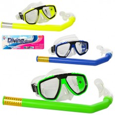 Набір для плавання 65112sh (96шт) маска 17-7,5см, трубка 35см, 3 кольори, в кульку