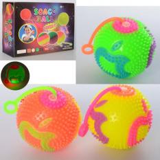 М'яч масажний MS 1887 (1уп/12шт) 7 см, довга ручка, світло, пищалка, на батарейках (табл), 12 шт (4 кольори) в дисплеї, 30-22,5-