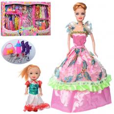 Лялька з нарядом 662А (24шт) 28см, дочка 10см в коробці