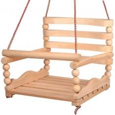 """Качеля k - 0160 """"Бук"""", дерев'яна з кульками №3, 6 плоских планок"""