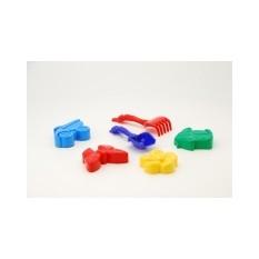 """Пісочний набір """"Colorplast"""" 0954 """"Незабудка №4"""", лопатка+грабли+4 великі паски"""