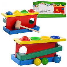 Дерев'яна іграшка MD 0026 Стучалка (90 шт) молоточок, кульки 4 шт, в коробці, 20,5-9-10,5 см