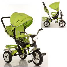 Велосипед M 3199-4HA (1шт/ящ) три кол.рез (12/10), колясочні., Поворот, муз, світло, торм, сумка, зелений¶