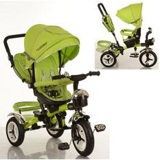 Велосипед M 3200-4A (1шт) три кол.рез (12/10), колясочні, поворот, перед.корзина, сумка, зелений