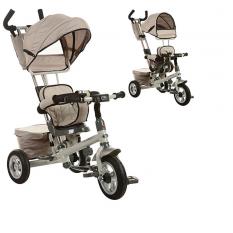 Велосипед M 3206A (1шт)три кол.резина(10/8),поворот,швидкозн.кол./руль,сумка,бежевий