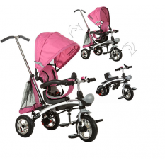 Велосипед M 3212A-4 (1шт)три кол.резина,трансформер(беговел),поворот,швидкозн.колеса,рожевий