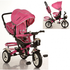 Велосипед M 3200-6A (1шт/ящ) три кол.рез (12/10), колясочні, поворот, перед.корзина, сумка, рожевий