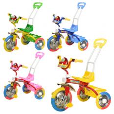 Велосипед B 2-2 / 6011 (4 шт / ящ) три колеса EVA, триколірні, бат  ручка, голуб, оранж, рожевий, зелений,¶