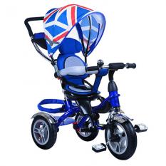 Велосипед M 3114-1A (1шт/ящ) три кол.резіна (12/10), колясоч.поворот, своб.ход колеса, гальмо, підшипників., Синій