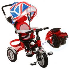 Велосипед M 3114-2A (1шт/ящ) три кол.резіна (12/10), колясоч.поворот, своб.ход колеса, гальмо, підшипників., червоний