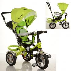 Велосипед M 3114-4A (1шт) три кол.резіна (12/10), колясоч.поворот, своб.ход колеса, гальмо, підшипників, зелений