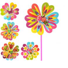 Вітрячок M 0804 (300шт) 2шт,размір сред,квітка,діаметр22см,паличка 28см,6 видів,в кульці,22-22-2см