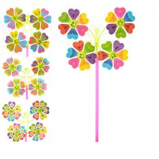 Вітрячок M 0809 (200шт) вертушка,разм мал,квітка,диам.22,5см,палоч28см,мікс видів,в кульці,16-16-2см