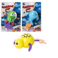 Водоплаваюча іграшка 3361 (180шт) заводна, 3 види(черепаха,кит,жаба), на листі, 14-21-5,5см