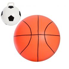 Мяч детячий MS 0945 (48шт) 18 дюймів, 2 види(футбольний(420г),баскетбольний(360г),в кульці,20-16-4см