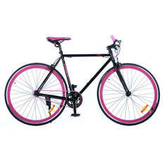Велосипед 28д. G54JOLLY S700C-4 (1шт / ящ) рама HI-TEN сталь 54см, трек.кол.700 * 23С, двойн.обод, чорно-рожевий