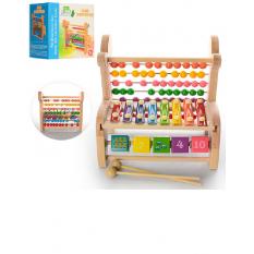 Дерев'яна іграшка Ксилофон MD 0962 (18шт) 8тонн, рахунки, кубики, палочкі2шт, в кор-ке, 24-22,5-17см