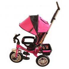 Велосипед M 3113-6A (1шт) три кол.резіна (12/10), колясочний, своб.ход колеса, гальмо, підшипників., Рожевий