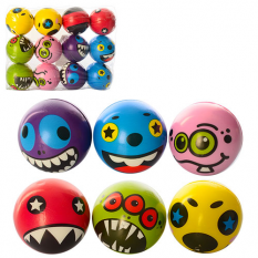 М'яч дитячий Фомова MS 1022 (1уп / 12шт) 6,5 см, мікс видів (смайл, монстр)
