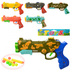 Пістолет 159-14-15 (180шт) 22 см, м'які кулі-присоски 2 шт, кульки 6 шт, 6 видів, в кульку, 22-13,5-3 см