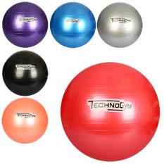 М'яч для фітнесу-65см MS 0982 (30шт) Фітбол, гума, 900г, 6 кольорів, в кульку, 18-16-8см