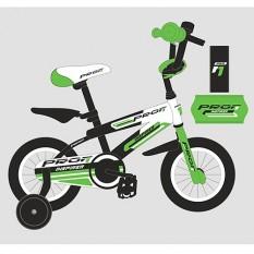 Велосипед дитячий PROF1 12д. G1254 (1шт / ящ) Inspirer, чорно-білий-салат (мат)