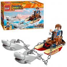 Конструктор BRICK 1302 Піратська серія, човен, акули, фігурка, в коробці