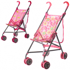 Коляска 9302 W-B (12шт) для ляльки, жел., зонт, двоколісний, поворот, сітка-сумка, висота до ручки 53 см, 64-13-12 см