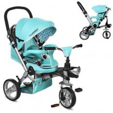 Велосипед M 3199-5 HA TURBOTRIKE три колеса, гумові (12/10), колясочний, поворот, муз., світло, гальмо, сумка, синій