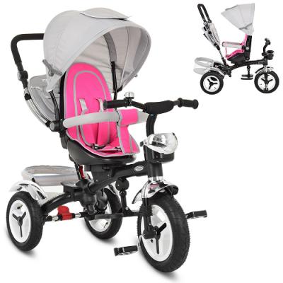 Велосипед M 3200A-7 TURBOTRIKE (1 шт) три колеса, гумові (12/10), колясочний, поворот, передня кошик, сумка, сіро-рожевий