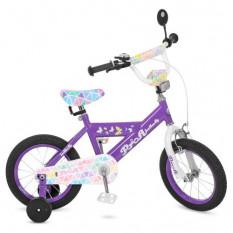 Велосипед дитячий PROF1 14д. L 14132 (1 шт / ящ) Butterfly 2, бузковий, дзвінок, додаткові колеса