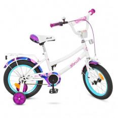 Велосипед дитячий PROF1 14 д. Y 14163 (1 шт/ящ) Geometry, білий, дзвінок, додаткові колеса