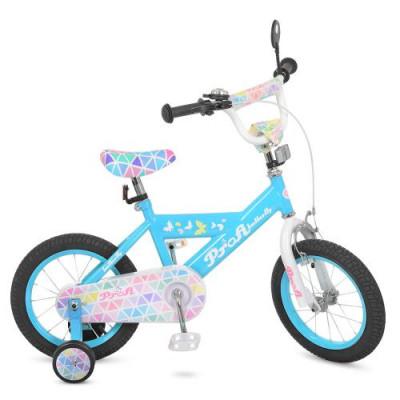 Велосипед дитячий PROF1 16д. L 16133 (1 шт/ящ) Butterfly 2, блакитний, дзвінок, додаткові колеса