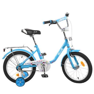 Велосипед дитячий PROF1 16д. L 1684 (1 шт/ящ) Flower, блакитний, дзвінок, додаткові колеса
