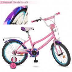 Велосипед дитячий PROF1 18д. Y 18162 (1 шт/ящ) Geometry, рожевий (матовий), дзвінок, додаткові колеса