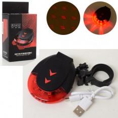 Ліхтар задній AS 180042-4 (1 шт) світлодіодний, акумулятор, 7 режимів, ARROW, світіння, лазр - 2 режими, USB зарядний, в кор-ці,