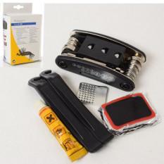 Ремкомплект AS 180011 (5 шт) сумка, складаний інструмент-мультіфунк, монтажки, заплатки, в кор-ці