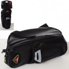 Сумка підсідельна WOLFBASE AS 180035 (2 шт) кріплення-ремінь, 4 внутрішніх і 1 зовнішня кишеня, упак 2 шт в пакеті, чорний, 23-1