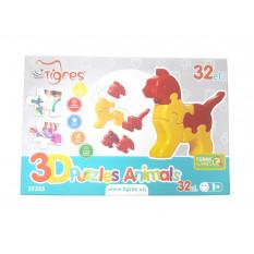 """Розвиваюча іграшка 39355 """"Тигрес"""", 3D пазли Звірятка (4 шт.) - 32 ел."""