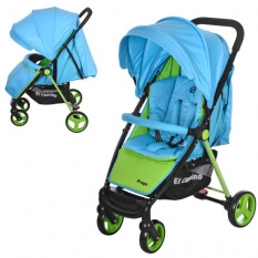 Коляска дитяча M 3435-12 PREGO (1шт/ящ) EL CAMINO, прогулянкова, блакитний-салатовий