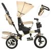 Велосипед M 3199-7 HA TURBOTRIKE (1 шт) три колеса, гумові (12/10) колясочний, поворот, муз, світло, гальмо, сумка, бежевий