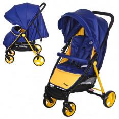 Коляска дитяча M 3435-4 PREGO (1 шт/ящ) EL CAMINO, прогулянкова, глиб дах, колеса 4 шт, чохол, 5-ти точкові ремені безпеки, синь