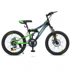 Велосипед 20 д. G20DAMPER S20.1 (1шт/ящ) PROF1, Чорно-салатовий-блакитний