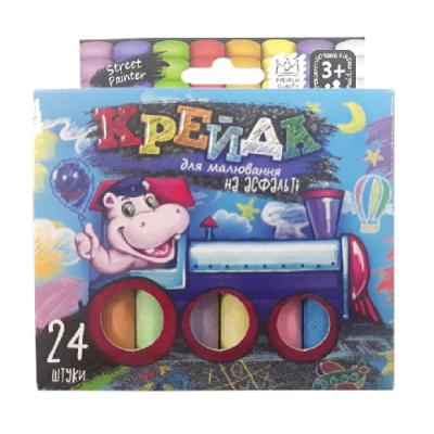 """Крейда для малювання на асфальті MEL-02-05U """"Danko-toys"""", 24 кольорів, маленьквеликі,  укр"""