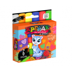 """Крейда для малювання на асфальті MEL-02-01U """"Danko-toys"""", 6 кольорів, маленьквеликі, укр"""