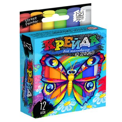 """Крейда для малювання на асфальті MEL-02-03U """"Danko-toys"""", 12 кольорів, маленьквеликі, укр"""