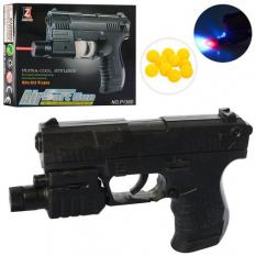 Пістолет 138 D на кульках, лазер, на батарейках, в коробці
