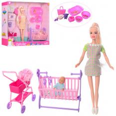 Лялька DEFA 8363  вагітна, коляска, ліжечко, аксесуари, 2 цв, в коробці